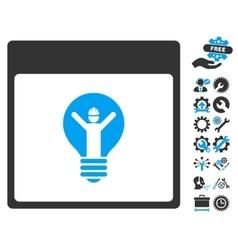 Electrician calendar page icon with bonus vector