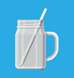Empty jar for smoothies with striped straw vector