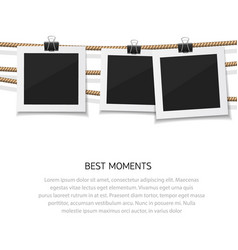enjoy every moment set of photo hanged on vector image