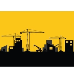 Factory construction site mobile cranes city vector