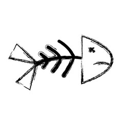 Figure fish death with its spine and tail vector