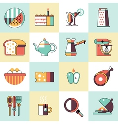 Food icons flat line set vector