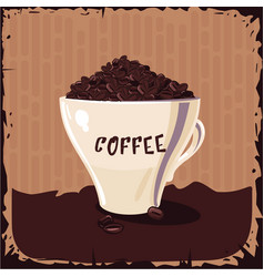 Full cup of coffee bean vintage vector