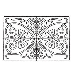 greek oblong panel has a strict palmette vector image vector image