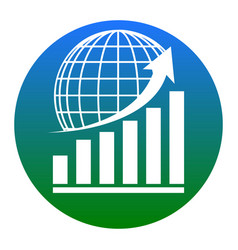 Growing graph with earth white icon in vector