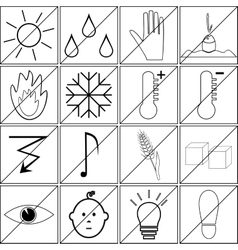 Icons with prohibitions of various actions vector
