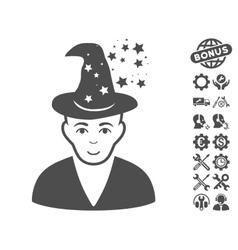 Magic master icon with tools bonus vector