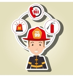 Man firefighter extinguisher vector