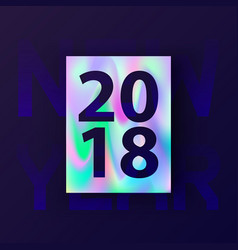 New year holographic card vector