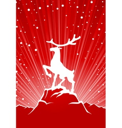 reindeer winter background vector image vector image