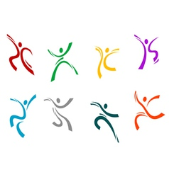 Running jumping and dancing peoples vector image