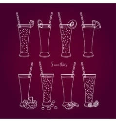 Set smoothies with different ingredients vector