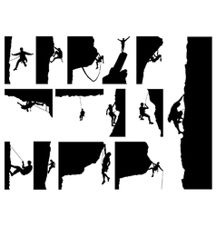 Rock climber silhouettes vector image