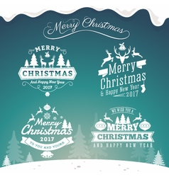 Set of christmas decoration typography tag label vector