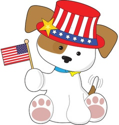 Puppy patriotic vector
