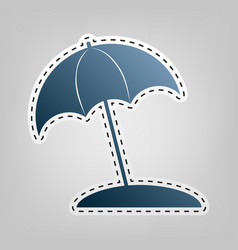 umbrella and sun lounger sign  blue icon vector image