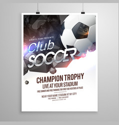 Soccer sports brochure flyer design template vector