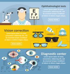 Ophthalmologist banner horizontal set flat style vector