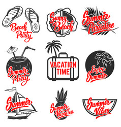 Summer emblems set of hand drawn lettering vector
