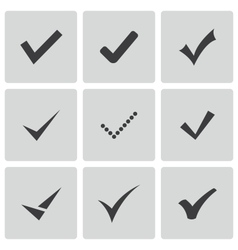 black confirm icons set vector image