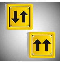 Arrows yellow square signs over gray background vector