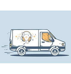 Van free and fast delivering headphones t vector