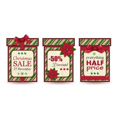Set of three vintage christmas sale labels vector image
