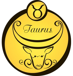 stylized zodiac signs in a yellow circle taurus vector image