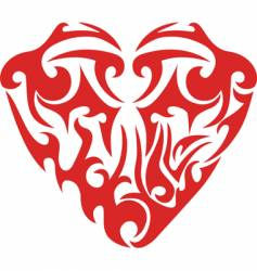 tribal red heart tattoo vector image