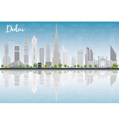Dubai city skyline with grey skyscrapers vector