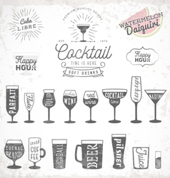 Typographical drinks design elements vector