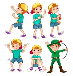 Boy in different poses vector