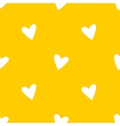 Tile pattern white hearts on yellow background vector