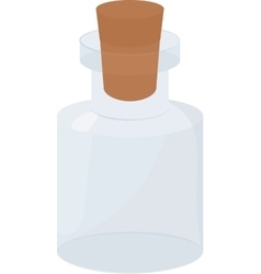 Glass small empty bottle with wood cork vector
