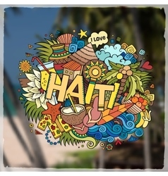 Haiti hand lettering and doodles elements emblem vector