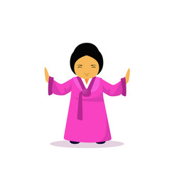 Asian woman cartton character wearing traditional vector