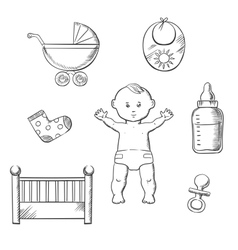 Baby sketch design with toys and objects vector image