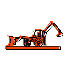 backhoe construction heavy machinery icon image vector image