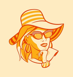 Beach retro woman vector