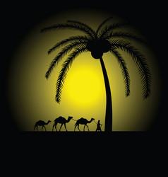 Camel caravan under palm vector