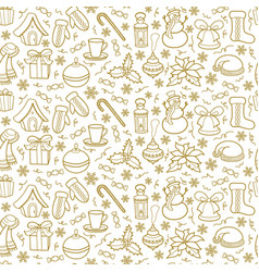 christmas seamless pattern silhouettes of golden vector image vector image