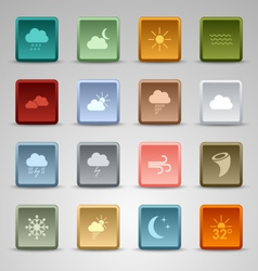 Colored set square web buttons weather vector
