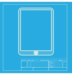 Computer tablet sign White section of icon on vector image