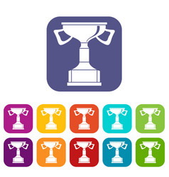 Cup for victory icons set vector