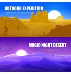 Desert horizontal banners vector