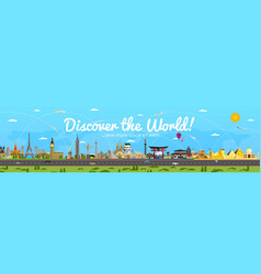 discover the world poster with famous attractions vector image