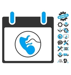 Embryo calendar day icon with bonus vector