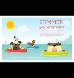 Enjoy tropical summer holiday with little dog 2 vector image vector image