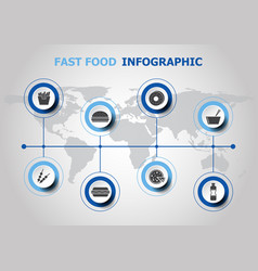 Infographic design with fast food icons vector