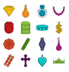 Jewelry items icons doodle set vector